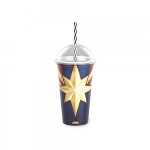 Imagem do produto - Copo Shake de Plástico 500 ml com Tampa e Canudo Capitã Marvel