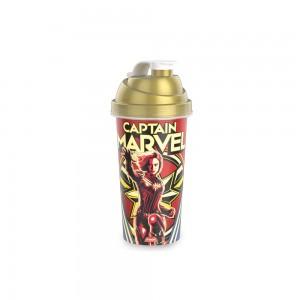 Imagem do produto - Shakeira de Plástico 580 ml com Tampa Rosca e Misturador Capitã Marvel