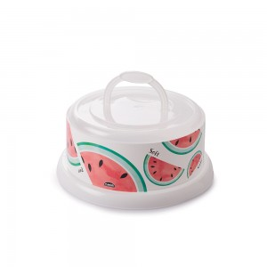 Imagem do produto - Queijeira de Plástico Redonda com Tampa Rosca e Alça Melancia