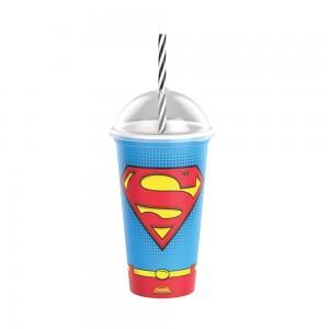 Imagem do produto - Copo Shake de Plástico 500 ml com Tampa e Canudo Superman