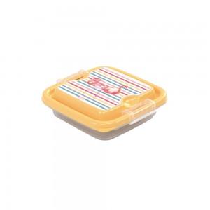 Imagem do produto - Pote de Plástico Retangular 150 ml com Travas Clic e Trave  Flamingo
