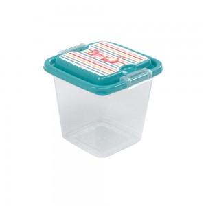 Imagem do produto - Pote de Plástico Retangular 630 ml com Travas Clic e Trave  Flamingo