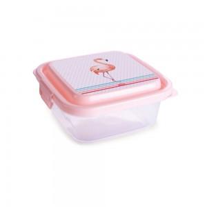Imagem - Pote de Plástico Retangular 640 ml com Travas Clic e Trave  Flamingo 005795-3190 Rosa