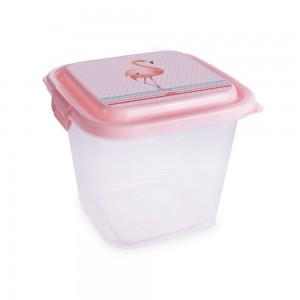 Imagem do produto - Pote de Plástico Retangular 1,4 L com Travas Clic e Trave  Flamingo