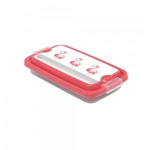 Imagem do produto - Pote de Plástico Retangular 280 ml com Travas Clic e Trave  Flamingo