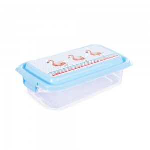 Imagem do produto - Pote de Plástico Retangular 520 ml com Travas Clic e Trave  Flamingo