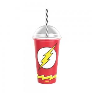 Imagem do produto - Copo Shake de Plástico 500 ml com Tampa e Canudo The Flash