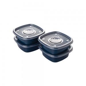 Imagem do produto - Conjunto de Potes de Plástico Quadrados 400 ml Pop 4 Unidades