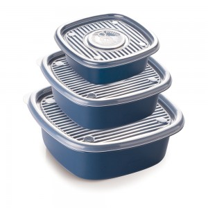 Imagem do produto - Conjunto de Potes de Plástico Quadrados Pop 3 Unidades