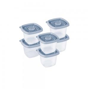 Imagem do produto - Conjunto de Potes de Plástico Quadrados 170 ml Pop 6 Unidades