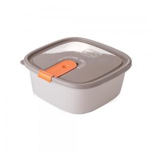 Imagem do produto - Pote de Plástico Retangular 1 L com Tampa Fixa e Trava Trio Cinza