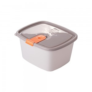 Imagem do produto - Pote de Plástico Retangular 1,2 L com Tampa Fixa e Trava Trio Cinza