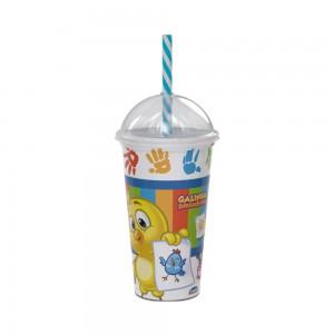 Imagem do produto - Copo Shake de Plástico 500 ml com Tampa e Canudo Galinha Pintadinha