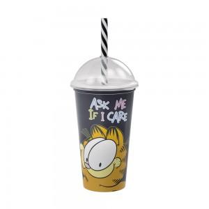 Imagem do produto - Copo Shake de Plástico 500 ml com Tampa e Canudo Garfield