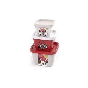 Imagem do produto - Conjunto de Potes Quadrados Conect 3 Unidades Minnie