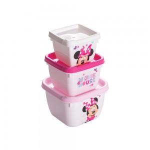 Imagem do produto - Conjunto de Potes de Plástico Quadrados Conect Minnie 3 unidades