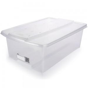 Imagem do produto - Caixa de Plástico Retangular Organizadora 9,8 L com Tampa Empilhável Grande