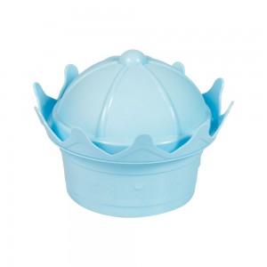 Imagem - Pote de Plástico com Tampa Fixa em Formato de Coroa 006506-1008 Azul