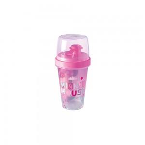 Imagem do produto - Mini Shakeira de Plástico 320 ml com Misturador, Fechamento Rosca e Sobretampa Articulável Minnie