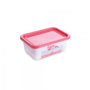 Imagem do produto - Pote de Plástico Retangular 200 ml com Tampa Fixa Duo Flamingo