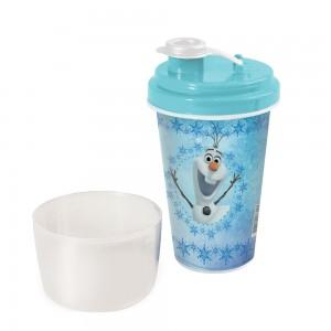 Imagem do produto - Mini Shakeira de Plástico 320 ml com Misturador, Fechamento Rosca e Sobretampa Articulável Olaf