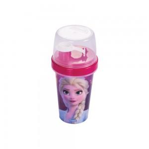 Imagem do produto - Mini Shakeira de Plástico 320 ml com Misturador, Fechamento Rosca e Sobretampa Articulável Frozen Elsa