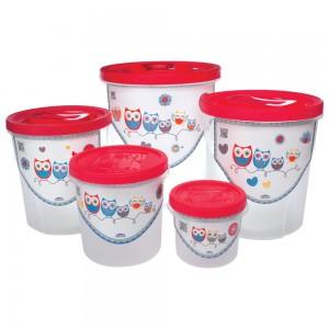 Imagem do produto - Conjunto de Potes de Plástico Redondos para Mantimentos Rosca Coruja 5 Unidades