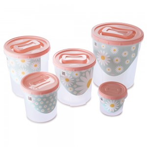Imagem do produto - Conjunto de Potes de Plástico Redondos para Mantimentos Rosca Camomila 5 Unidades