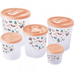 Imagem do produto - Conjunto de Potes de Plástico Redondos para Mantimentos Rosca Borboleta 5 Unidades Rosa