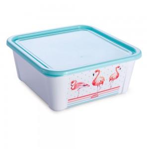 Imagem do produto - Pote de Plástico Retangular 1,4 L com Tampa Fixa Duo Flamingo