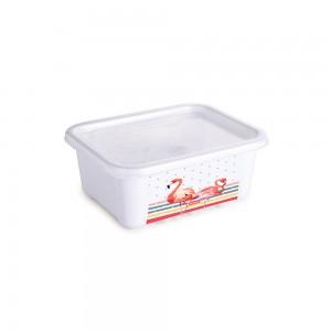 Imagem do produto - Pote de Plástico Retangular 400 ml com Tampa Fixa Duo Flamingo