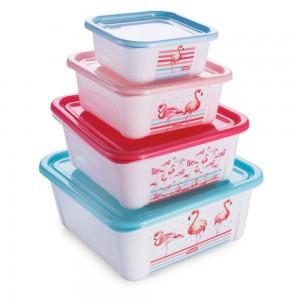 Imagem do produto - Conjunto de Potes de Plástico Retangulares com Tampa Fixa Duo Flamingo 4 Unidades
