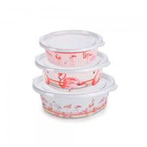 Imagem do produto - Conjunto de Potes de Plástico Redondos com Tampa Fixa Duo Flamingo 3 Unidades