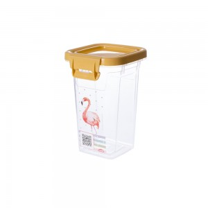 Imagem do produto - Pote de Plástico Retangular 420 ml com Tampa Fixa e Trava Duo Flamingo
