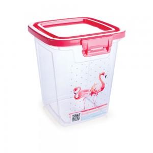 Imagem do produto - Pote de Plástico Retangular 1,8 L com Tampa Fixa e Trava Duo Flamingo