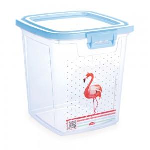 Imagem do produto - Pote de Plástico Retangular 5,1 L com Tampa Fixa e Trava Duo Flamingo