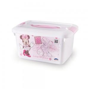Imagem do produto - Caixa de Plástico Retangular Organizadora 5,2 L com Travas Laterais e Alça Minnie Baby