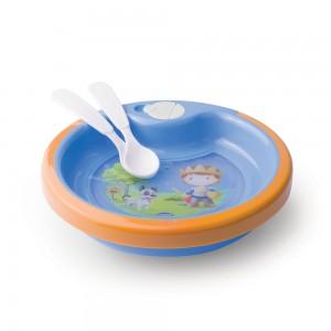 Imagem do produto - Prato Térmico de Plástico 450 ml com Ventosa e 2 Colheres Oliver