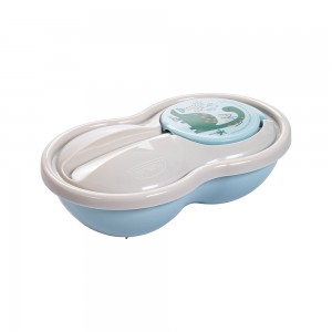 Imagem do produto - Pote de Plástico para Papinha 320 ml com Colher e Tampa Protetora Dino