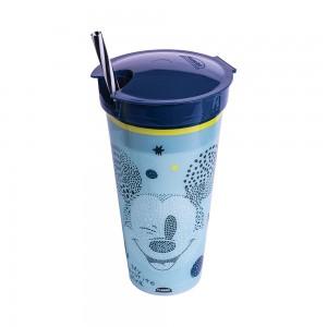 Imagem do produto - Copo de Plástico 540 ml com Compartimento e Canudo Mickey Baby