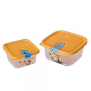 Imagem do produto - Conjunto de Potes de Plástico Retangulares com Tampa Fixa e Trava Trio 2 Unidades Minions