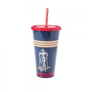 Imagem do produto - Copo Refrigerante de Plástico 700 ml com Tampa e Canudo Mulher Maravilha