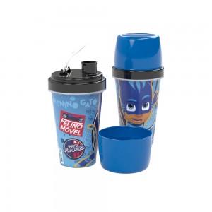 Imagem do produto - Mini Shakeira  de Plastico 320 ml com Misturador, Fechamento Rosca e Sobretampa Articulável Pj Masks
