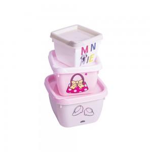 Imagem do produto - Conjunto de Potes de Plástico Quadrados Minnie Baby Conect 3 unidades