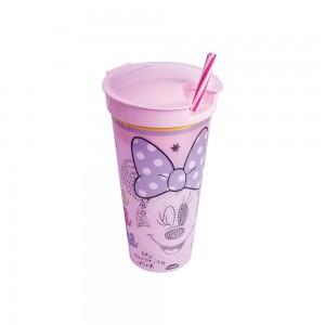 Imagem do produto - Copo de Plástico 540 ml com Compartimento e Canudo Minnie Baby
