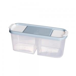 Imagem do produto - Guarda Tudo de Plástico Retangular 2 Divisórias 1,1 L Dueto Azul