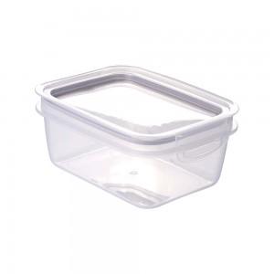 Imagem do produto - Pote de Plástico Retangular 910 ml Hermético Trava Mais Incolor / Cinza