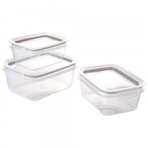 Imagem do produto - Conjunto de Potes de Plástico Retangulares Herméticos Trava Mais 3 Unidades Cinza