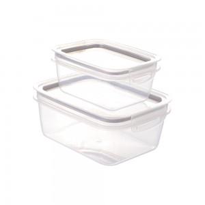 Imagem do produto - Conjunto de Potes de Plástico Retangulares Herméticos Trava Mais 2 Unidades Incolor / Cinza