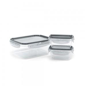 Imagem do produto - Conjunto de Potes de Plástico Retangulares com Tampa Trava Mais 3 Unidades